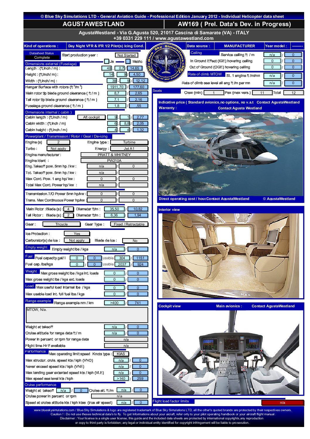 Aviation catalog Agusta Westland A169