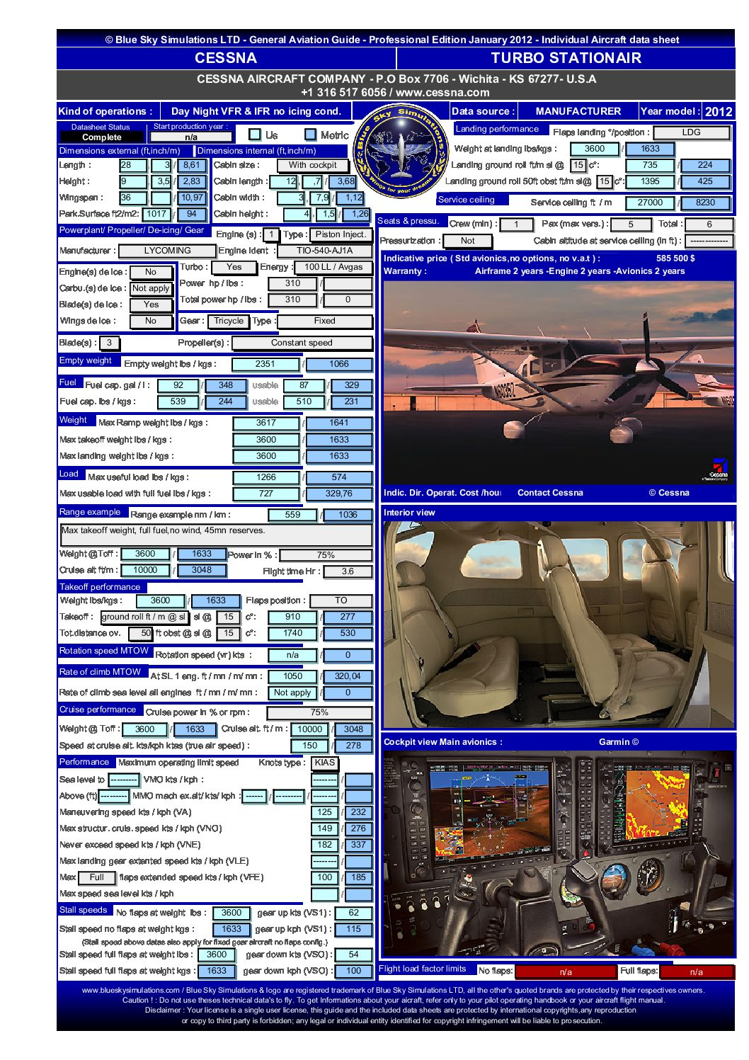Aviation catalog Cessna turbo Stationair