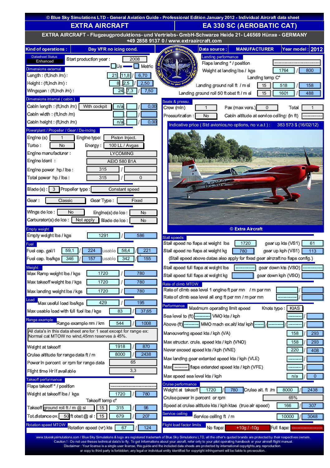 Aviation catalog Extra Aircraft 330 SC